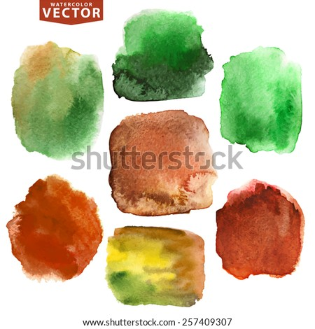 Watercolor hand painting stains,spot,design elements. Bright design template.Vintage vector background.Nature brown,green colors, imitation earth,soil,foliage.Ecology design - stock vector
