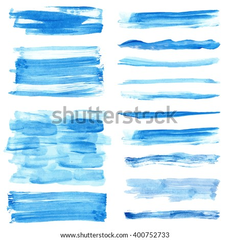 Watercolor hand painting texture.Stains,drops spot,blue wavy brushes,cyan color border set.Vector Watercolor design template.Blur,summer background.Holiday,vacation vacation artistic texture,sea,water - stock vector