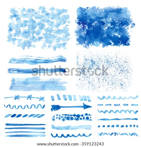 Watercolor hand painting textures.Stains,drops spot,line brushes,borders set. Blue,cyan,color.Bright design template.Vintage blur vector,summer background.Holiday,vacation artistic texture,sea ,water - stock vector