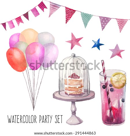 Watercolor Happy birthday party set. Hand drawn vintage celebration objects: lemonade glass, air balloons, flags garland, naked cake, stars. Vector design elements - stock vector