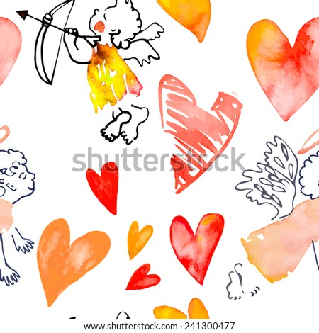 Watercolor heart. Valentine's Day. Vector. Pattern with hearts and cupids. Vector - stock vector