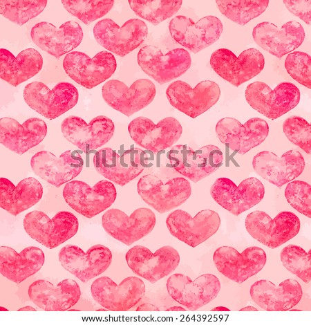 watercolor hearts background - stock vector