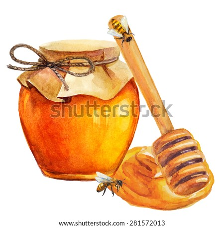 Watercolor Honey jar and honey stick over white, Vector - stock vector