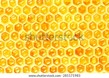 Watercolor Honeycomb over white, Vector - stock vector