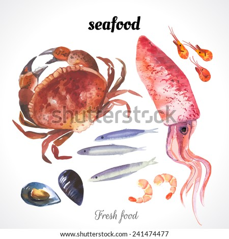 Watercolor illustration of a painting technique. Fresh organic food. Watercolor set of sea food with squid, crab, anchovies, shrimp and mussels drawn by hand on a white background. - stock vector
