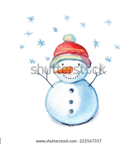 Watercolor illustration of a snowman on a white background. - stock vector