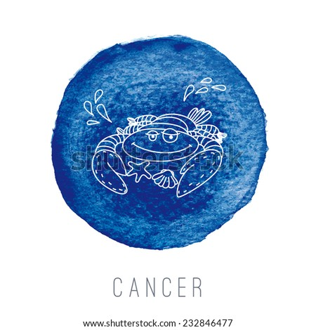 Watercolor illustration of the crab (Cancer). Part of the set with horoscope zodiac signs. EPS 10. No transparency. No gradients. - stock vector