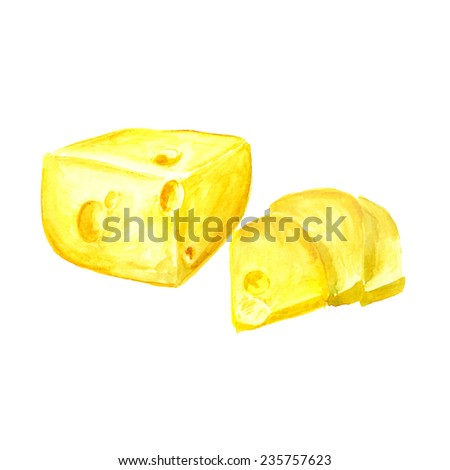 Watercolor image of cheese on white background. Vector eps8 - stock vector