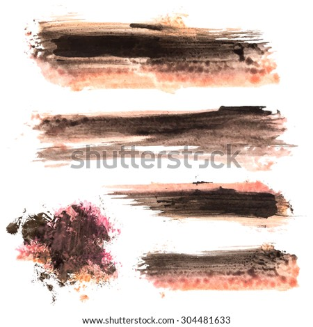 Watercolor Ink blots, stains, paint strokes. Vector design elements for grungy, worn creations. - stock vector