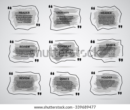 Watercolor, ink, splash Quote blank templates. Quote bubbles. Empty template. Circle business card template, paper sheet, information, text. Print monochrome design. Quote form. Template vector set - stock vector