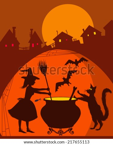 Watercolor kitchen witch illustration - stock vector