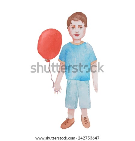 Watercolor little boy with air balloon. Isolated hand drawn vintage character. Vector illustration - stock vector