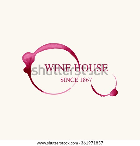 Watercolor logo for wine house in form of wine stains isolated on light beige background. Vector illustration EPS10. - stock vector