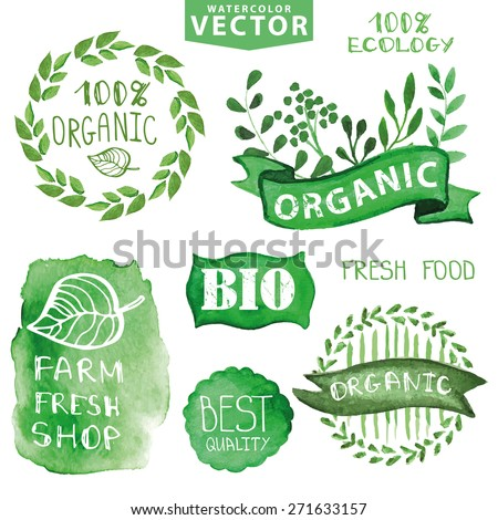 Watercolor logotypes set.Green branches,Badges, labels,ribbons,plants elements, stein,wreaths and laurels.Organic,bio,ecology natural logo design template.Hand drawing painting.Vintage vector - stock vector