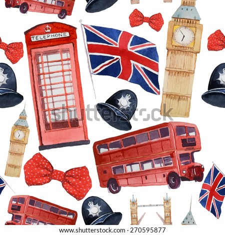 Watercolor London pattern. Seamless texture with hand drawn elements: red phone booth, Big Ben clock, flag of Great Britain, helmet of policeman, bow tie with polka dot, policeman helmet, red bus - stock vector