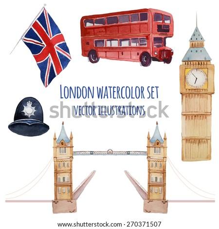 Watercolor London set. Vector hand drawn elements: policeman helmet, Big Ben clock, flag of Great Britain, tower bridge, Tower bridge, red bus. English capital signs icons - stock vector