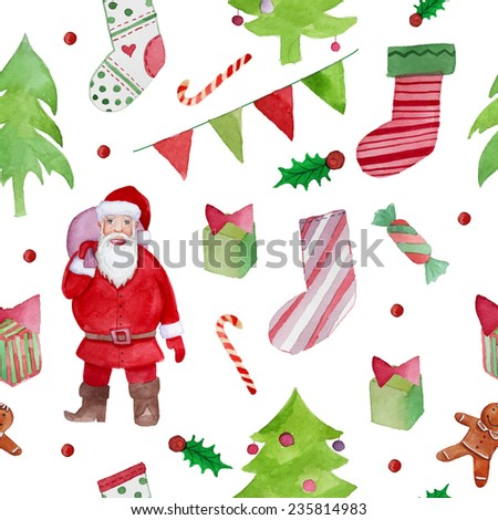 Watercolor Merry Christmas objects pattern. Hand drawn seamless texture with Santa Claus, xmas trees, party garland, gifts and Christmas socks. Vector background - stock vector