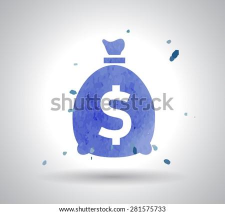 watercolor Money bag icon - stock vector