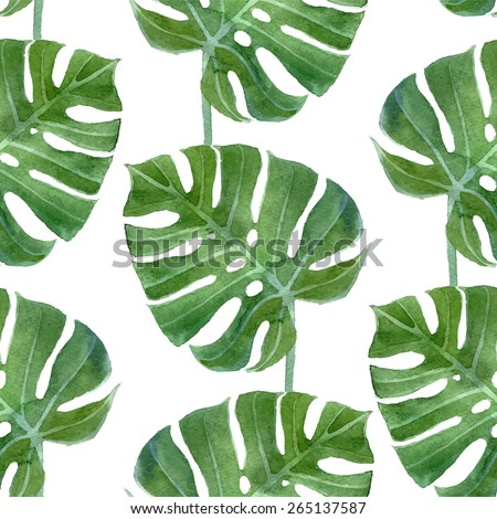 watercolor monstera leaf seamless pattern - stock vector