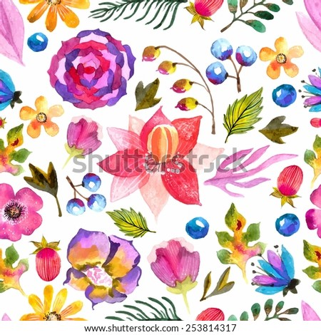 Watercolor natural seamless pattern over white - stock vector