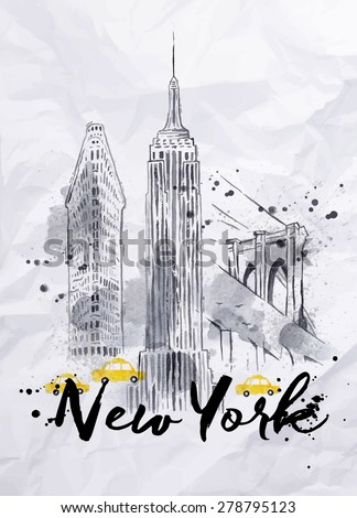 Watercolor New York skyscrapers, Empire State Building, Brooklyn Bridge in vintage style drawing with drops and splashes on crumpled paper - stock vector