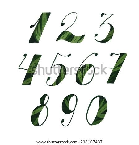 Watercolor numbers vector set. Summer green. Negative painting technique. - stock vector