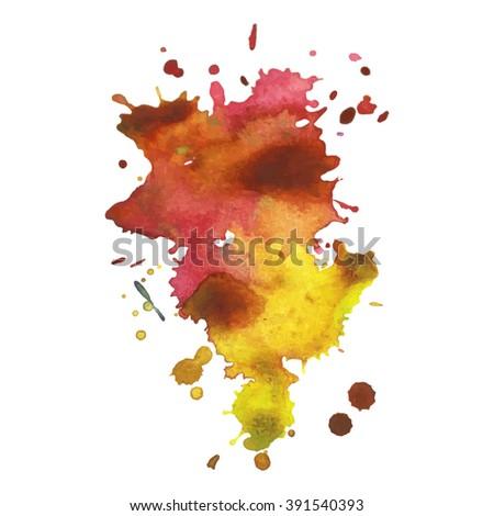 Watercolor orange yellow stain with expressive splash. Vector illustration - stock vector