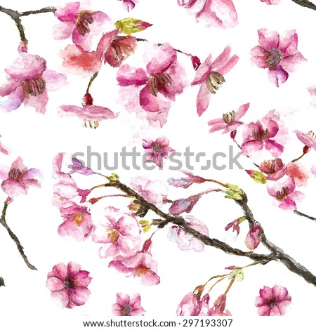Watercolor oriental pattern with sakura branch. Seamless oriental texture with isolated hand drawn cherry blossom. Asian natural background in vector - stock vector