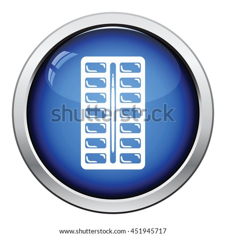 Watercolor paint-box icon. Glossy button design. Vector illustration. - stock vector