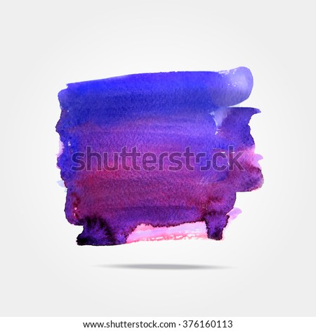 Watercolor Paint Stain Background. Abstract background. Ink brush strokes with rough edges. Dry brush illustration.Square acrylic cyan and purple template for text lettering or inspirational saying.  - stock vector