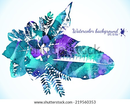 Watercolor painted green and magenta leaves - vector illustration - stock vector