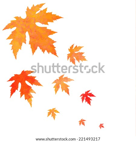 Watercolor painted orange vector leaves fall - stock vector