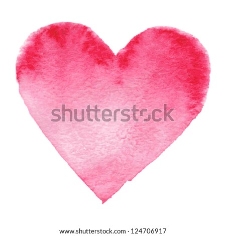 Watercolor painted red heart, vector element for your design - stock vector
