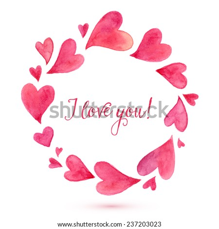 Watercolor painted vector hearts round frame - stock vector