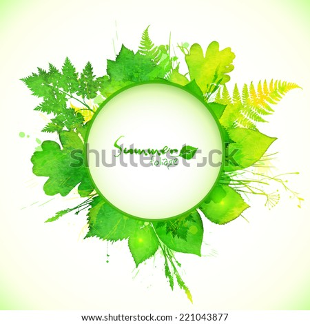 Watercolor painted vector summer leaves circle banner - stock vector