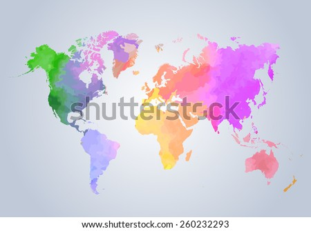 Watercolor painted world map on white background - vector illustration. - stock vector