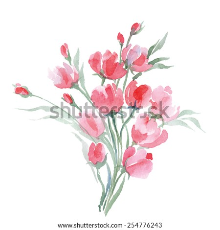 Watercolor painting of bouquet of   a wild flowers. Summer background. Element for design. Vector illustration. - stock vector