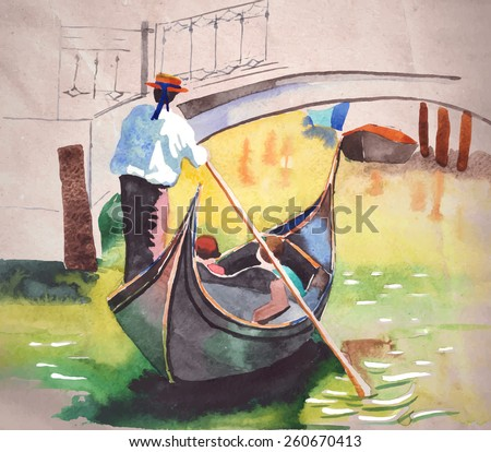 Watercolor painting of Gondola on canal in Venice on a sunny day. Vectorized illustration on a craft paper background. - stock vector