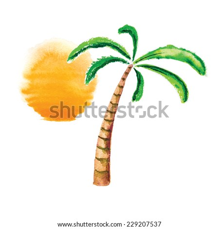 Watercolor palm tree and sun. Vector logo illustration. - stock vector