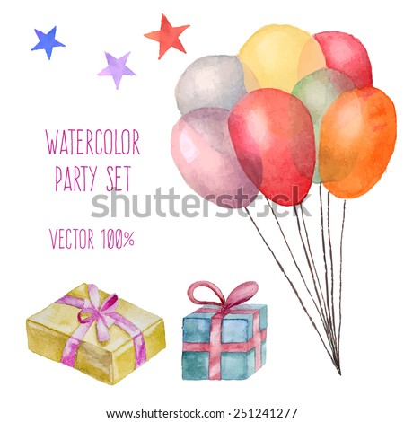 Watercolor party set. Hand drawn vintage celebration objects: gift boxes, air balloons, stars. Vector design elements - stock vector