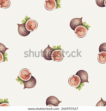 Watercolor pattern of fruit, Figs. Vector illustration. - stock vector