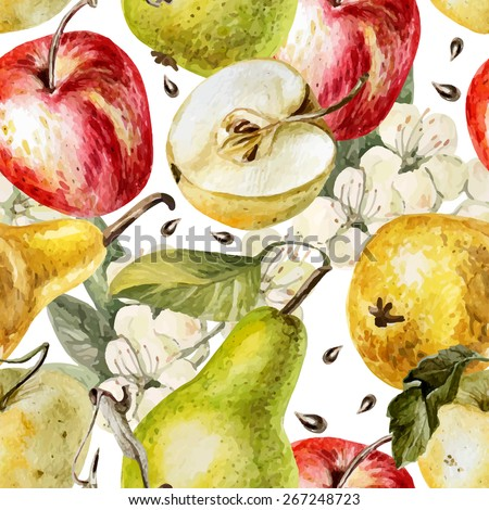 Watercolor pattern with apples, pears and flowers. Vector. - stock vector