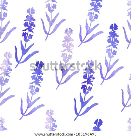 Watercolor pattern with lavender flowers.   Seamless pattern for fabric, paper and other printing and web projects. - stock vector