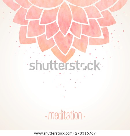Watercolor pink lotus flower. Hand drawing floral ornament on white background. Oriental japanase,chinese or indian pattern. Vector illustration - stock vector