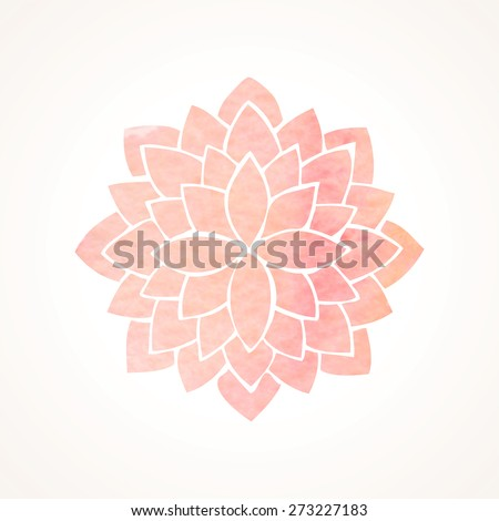 Watercolor pink lotus flower. Mandala. Indian, japanase, chinese oriental round element for design. Logo template. Flower pattern isolated on white background. Vector illustration - stock vector
