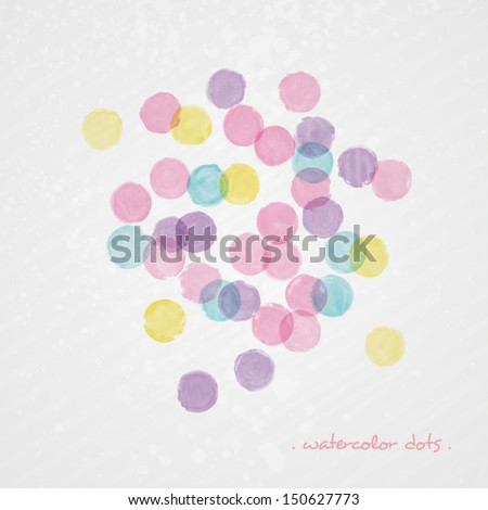 Watercolor polka dot background. Abstract grunge vector composition. Multicolor splashes texture. Bright splashes on grey background - stock vector