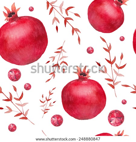 Watercolor pomegranate and red diamonds pattern. Hand drawn seamless texture with floral elements, garnets and jewelry. Vector background - stock vector