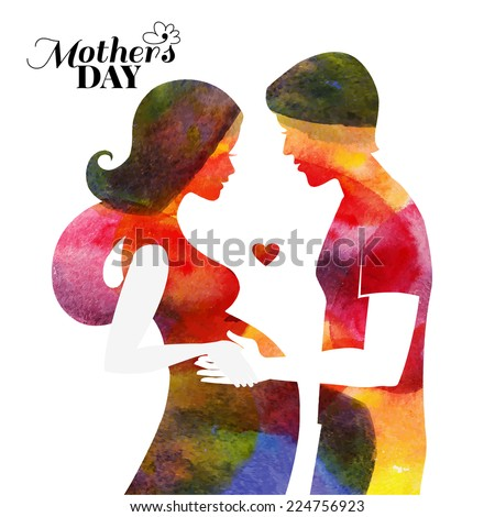 Watercolor pregnan? beautiful woman silhouette with her husband. Card of Happy Mothers Day. Vector illustration - stock vector
