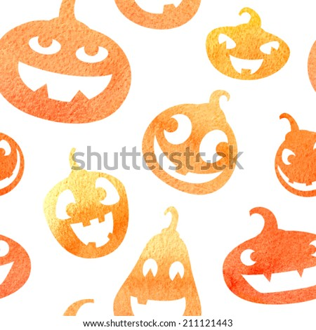 Watercolor pumpkins. Jack-o'-lanterns with happy faces. Vector seamless pattern. - stock vector