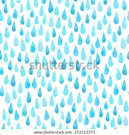 Watercolor rain drops, seamless background with stylized blue raindrops - stock vector